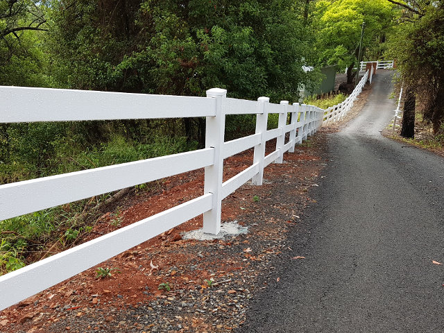 Big Country PVC Fencing supply and install Custom Three Rail Post and Rail Fence