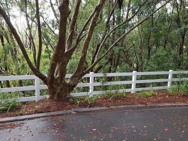 Project portfolio image of custom 3 Rail Post and Rail PVC Fence