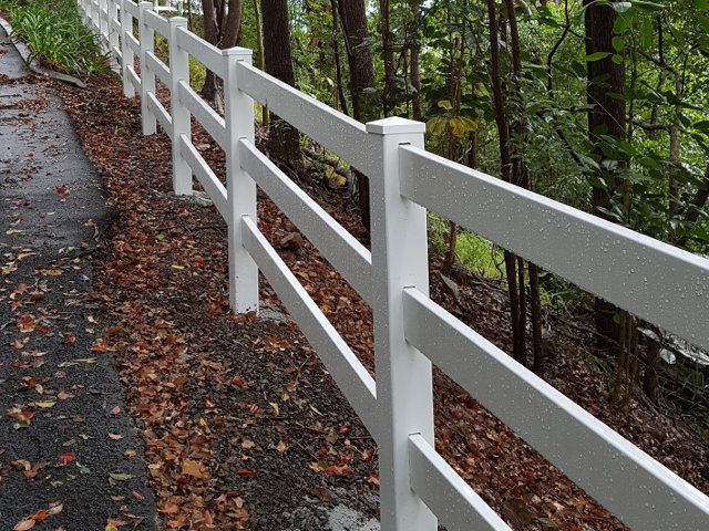 Side view of 3 Rail Post and Rail Fence
